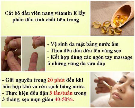 Vitamin E được ví như kem dưỡng điều trị sẹo mụn, sẹo lõm hiệu quả